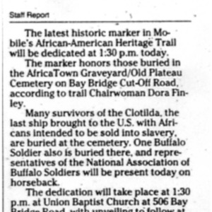 Historic marker to be dedicated Feb. 6 2011 Press-Register 1C.pdf