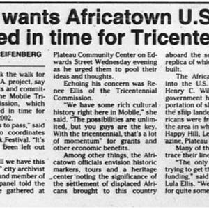 Panel wants Africatown U.S.A. finished in time for Tricentennial Jul. 23 1998 Mobile Register 11B.pdf