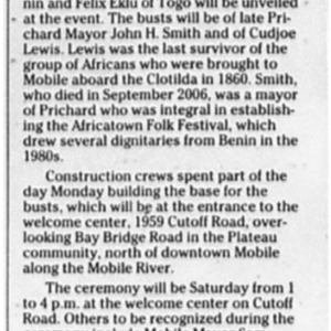 Busts to be unveiled at Africatown welcome center Apr. 24 2007 Press-Register 2B.pdf