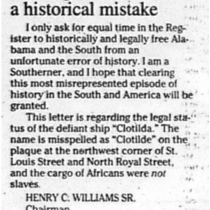 Seeking to correct a historical mistake Dec. 14 1998 Mobile Register 12A Final Editorial.pdf