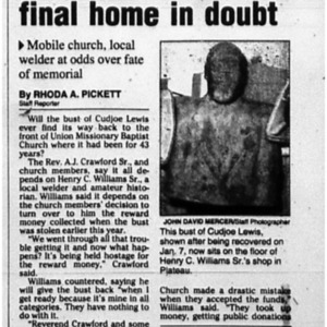 Cudjoe Lewis bust's final home in doubt Mar. 29 2002 Mobile Register 1B, 7B.pdf