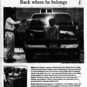 The Bust of Cudjoe Lewis Jan. 24 2002 Mobile Register 1B.pdf