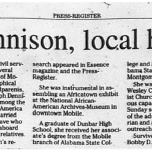 Granny Dennison, local historian, dies Nov. 26 2009 Press-Register 5C.pdf