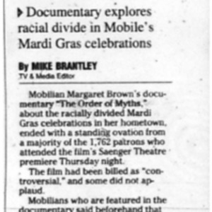 Carnival film wins standing ovation Aug. 1 2008 Press-Register 1A, 4A.pdf