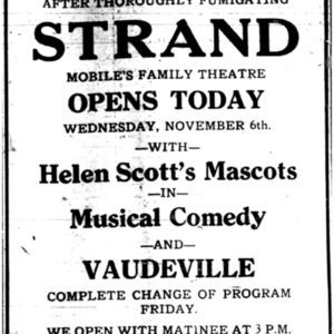 6 Nov . Strand Theatre reopening ad 1918 p3 Mobile Register.pdf