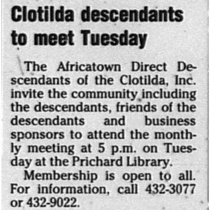 Clotilda descendants to meet Tuesday May 5 2005 Mobile Register 2SB.pdf