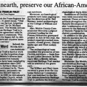 Group aims to unearth, preserve our Afircan-American heritage Nov. 26 2010 Press-Register 10A.pdf