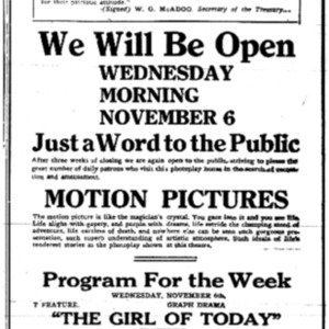 6 Nov . Empire theater reopening ad 1918 p5 Mobile Register.pdf