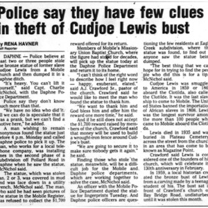 Police say they have few clues in theft of Cudjoe Lewis bust Jan. 23 2002 Mobile Register 5B.pdf