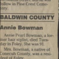 Bowman, Annie Pearl