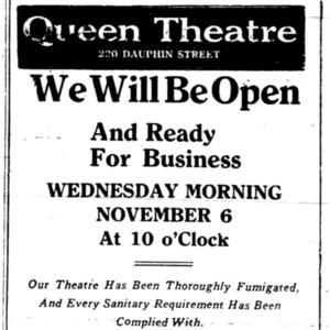 6 Nov . Queen Theatre reopening ad 1918 p7 Mobille Register.pdf